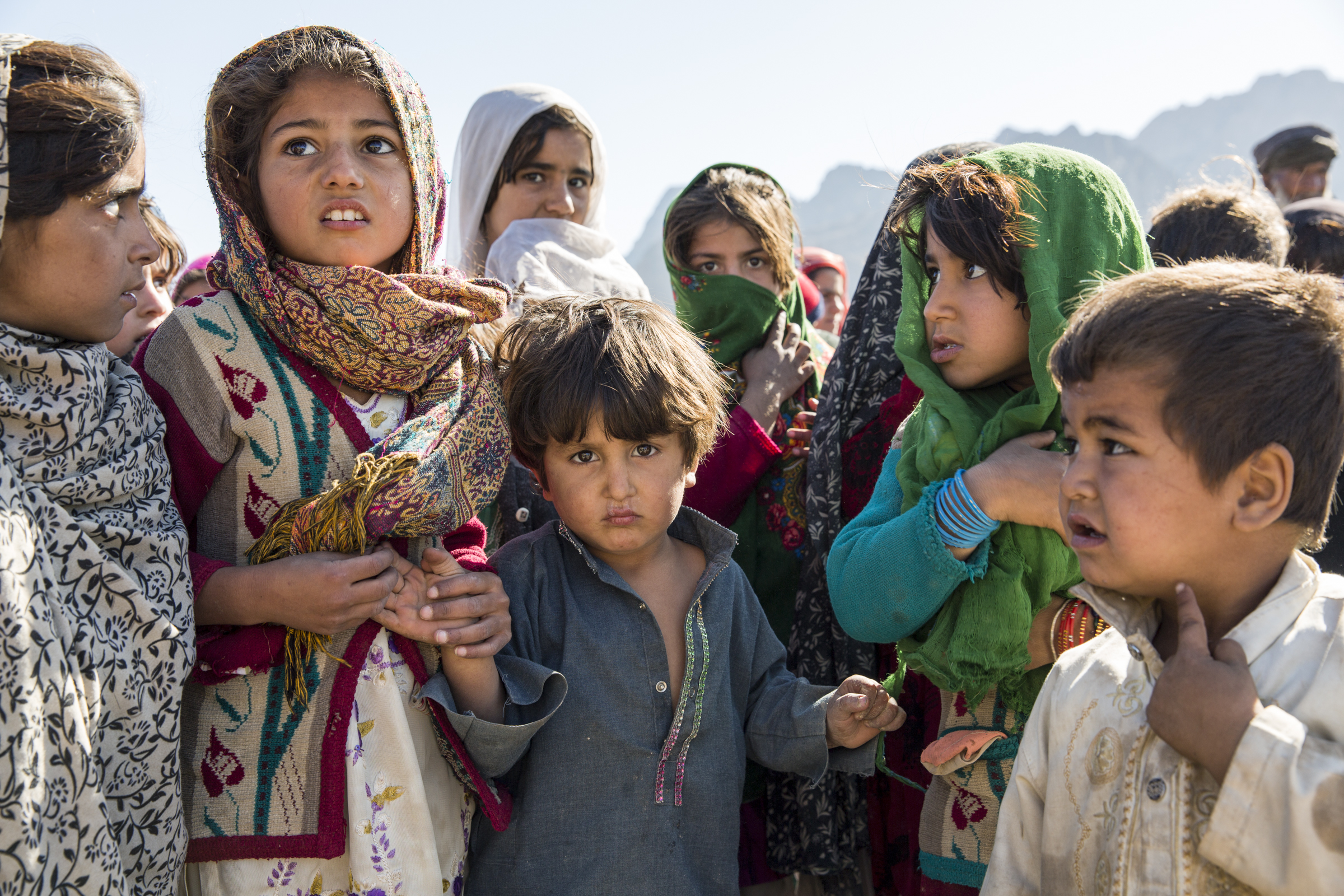Afghan children at a displaced persons camp outside the city of Farah.