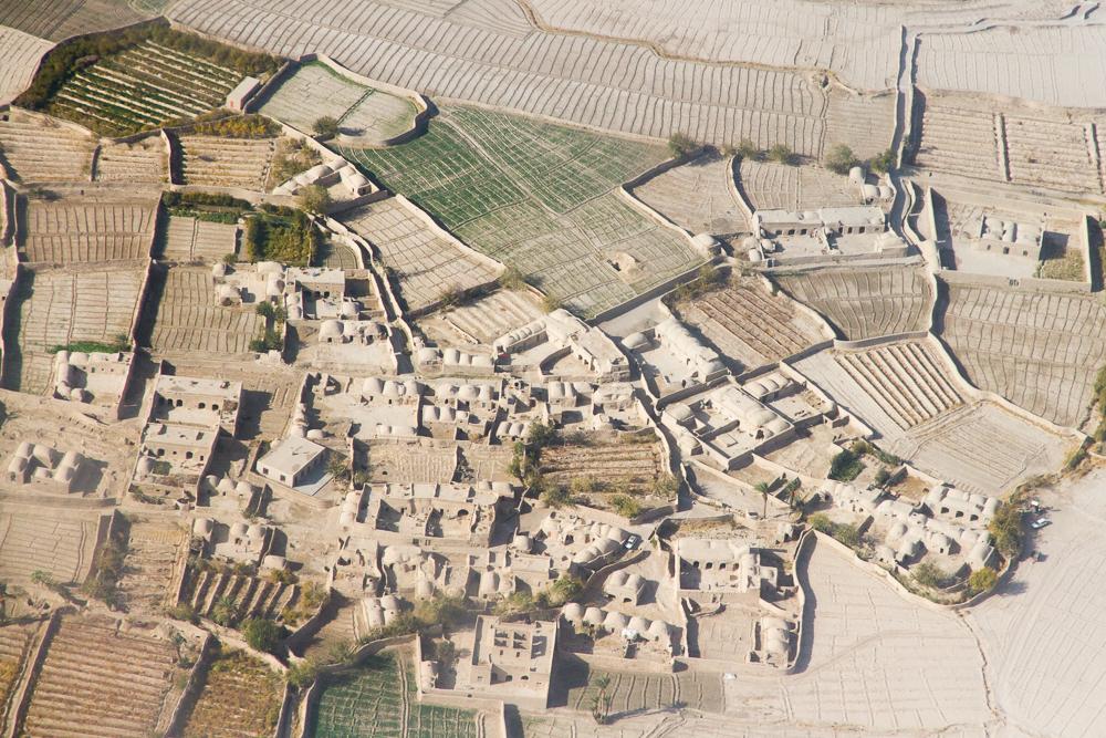 Afghan houses and fields (Farah, Afghanistan).