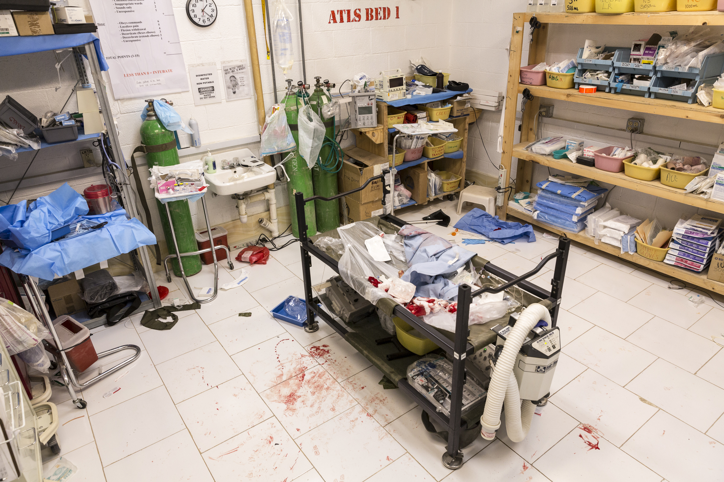 A typical sight at the Base Aid Station following casualty treatment at Forward Operating Base Farah, Afghanistan.