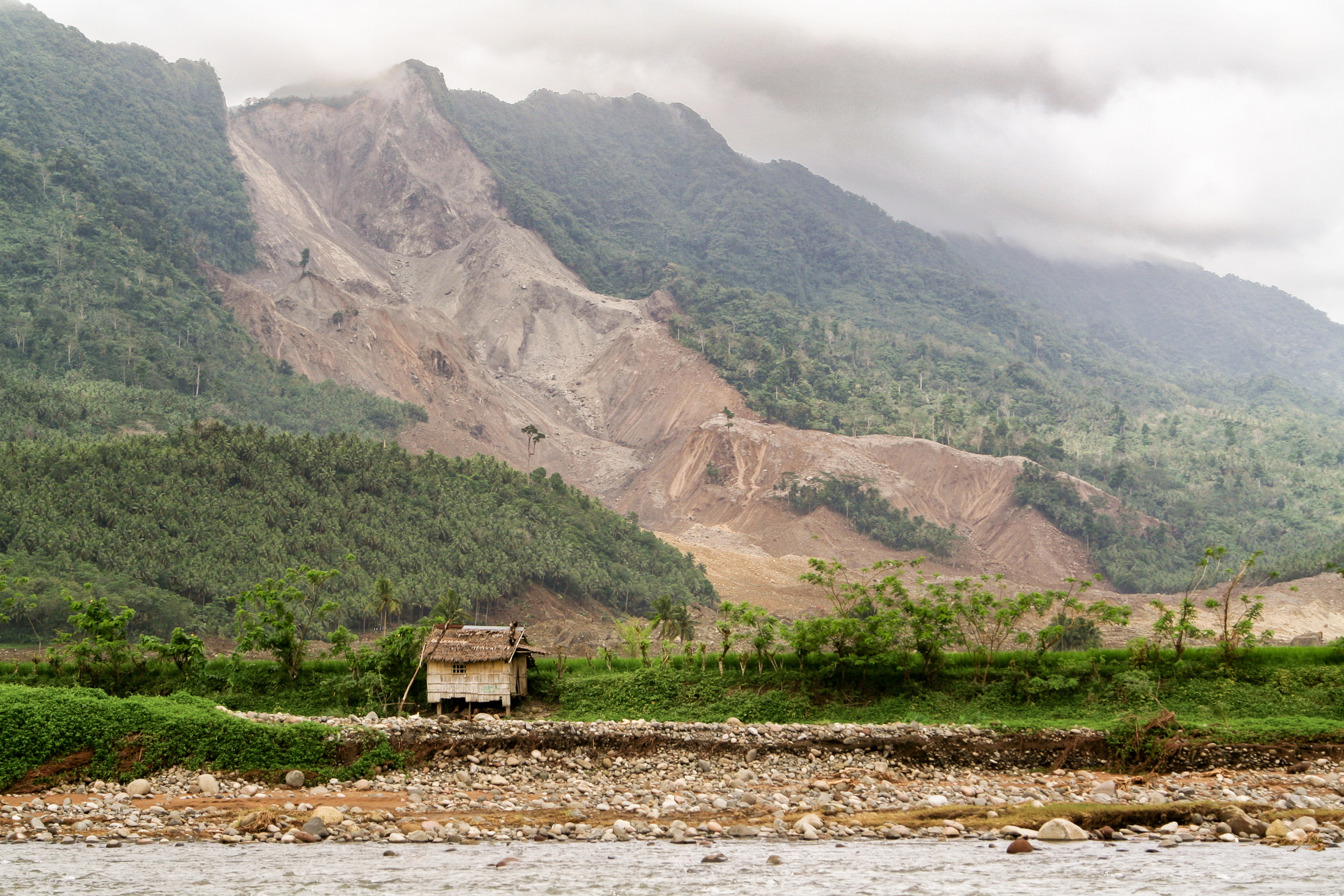 Landslide, on the Island of Leyte, Philippines, which destroyed the village of Guinsaugon.