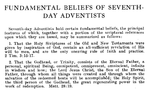SDA Fundamental Beliefs-Yearbook, 1931 (Click for a larger view)