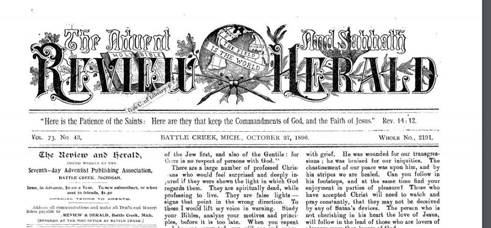 Cover sheet of Review and Herald where Uriah Smith's defense of doxology is found (click to enlarge).