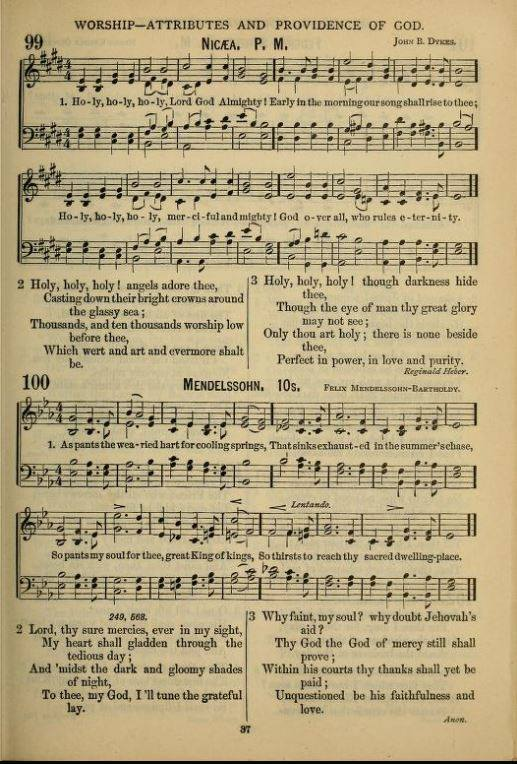 """1886 Hymnal, pg. 99 """"God in three persons, blessed trinity"""" modified to  """"God over all, who rules eternity"""""""