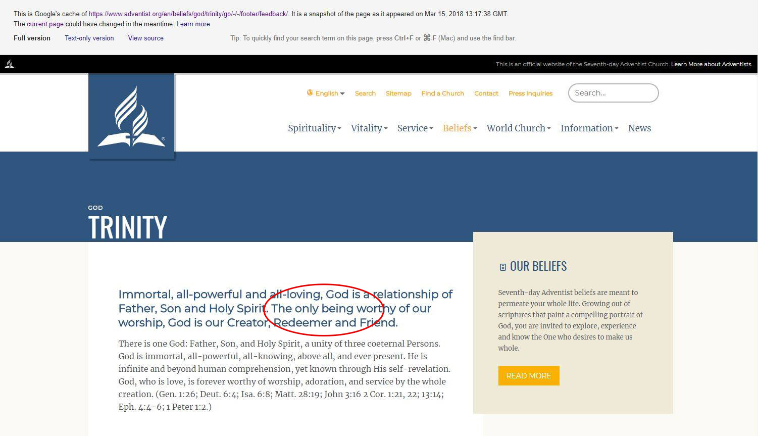 "The phrase ""The only being worthy of our worship"" appeared on the SDA's official website until March of 2018."