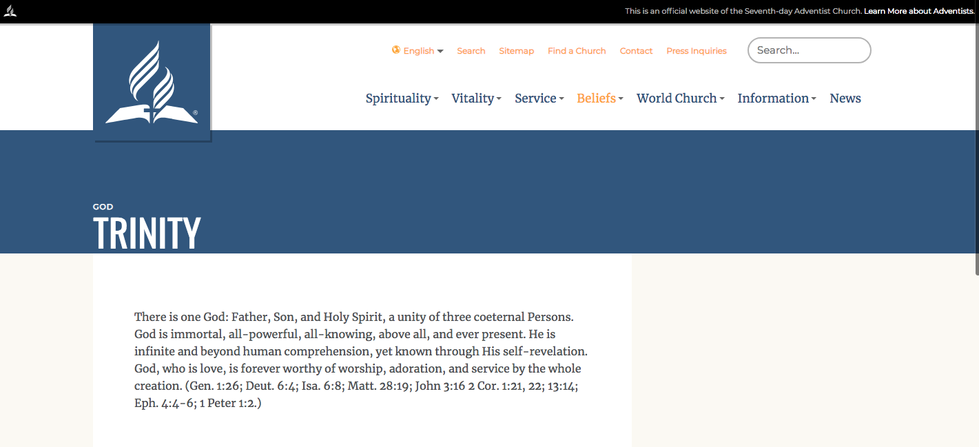 "Screenshot of the current website. The paragraph containing the phrase, ""The only being worthy of our worship"" was removed from the page sometime after March 15, 2018."