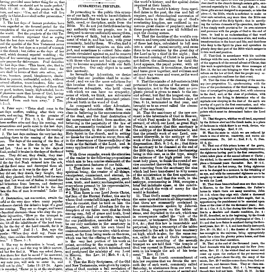 Fundamental principles as it appeared on  Signs of the Times,  June 4, 1874 (Vol 1 No. 1 pg 3)