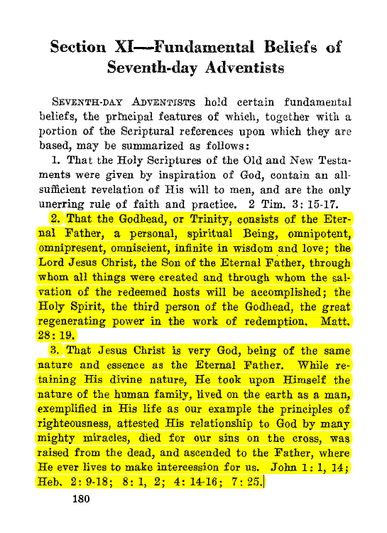 SDA Fundamental Beliefs, 1932