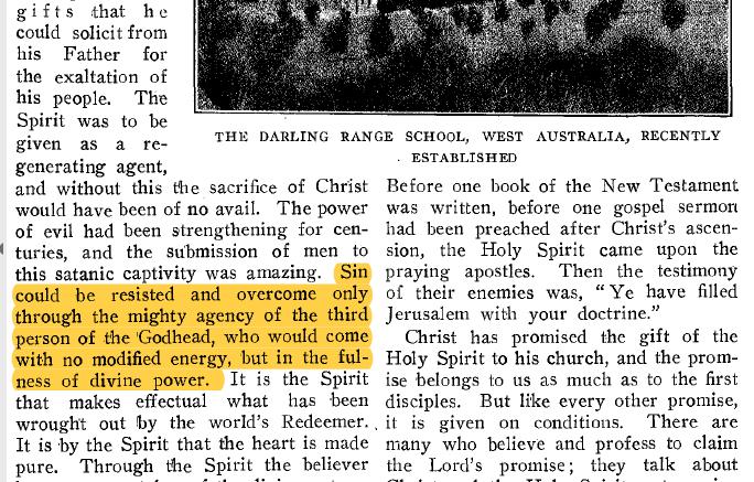 """ADVENT REVIEW AND SABBATH HERALD NOVEMBER 19, 1908, pg. 16 - detail  Note: All the published articles containing the expression, """"third person of the godhead"""" prior to 1940 was printed in the lower case."""