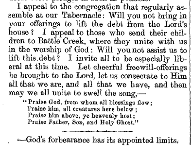 EGW's reference to doxology in Review and Herald, January 4th, 1881, pg. 5