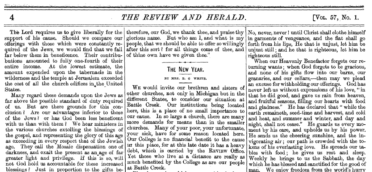 Starting page of EGW's Review and Herald, January 4th, 1881 article.