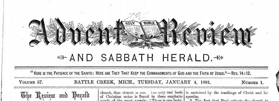 Review and Herald, January 4th, 1881, cover page.