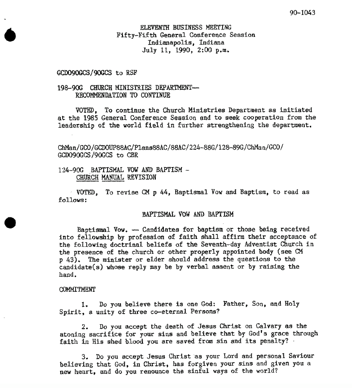 1990 General Conference Minutes showing the revised baptismal vow.