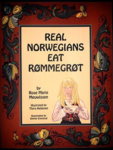 "Real Norwegians Eat Rommegrot - Real Norwegians Eat Rommegrot, the second book in the series is now available, also.Ancestry and heritage are important for our children and the purpose of this children's book is to provide both in an inviting and mind provoking way. Rømmegrøt is known throughout the United States and Scandinavia as an old traditional food of our Scandinavian forefathers. The book provides a Rømmegrøt recipe with an engaging story about a young girl's first cooking instructions to make this rich traditional dessert, Rømmegrøt. Follow her path to becoming a ""Real Norwegian"". The story is presented in both English and Norwegian, allowing both children and adults the opportunity to learn the Norwegian language.Enjoy the story, learn Norwegian and try a totally different kind of pudding—Rømmegrøt! And always remember—Real Norwegians Eat Rømmegrøt!"