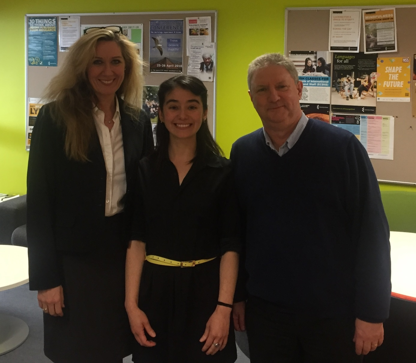 External examiner and INIRC-CBOW network founder Professor Ingvill C. Mochmann, PhD candidate Tatiana Sanchez Parra, internal examiner Professor Nigel G. South, University of Essex