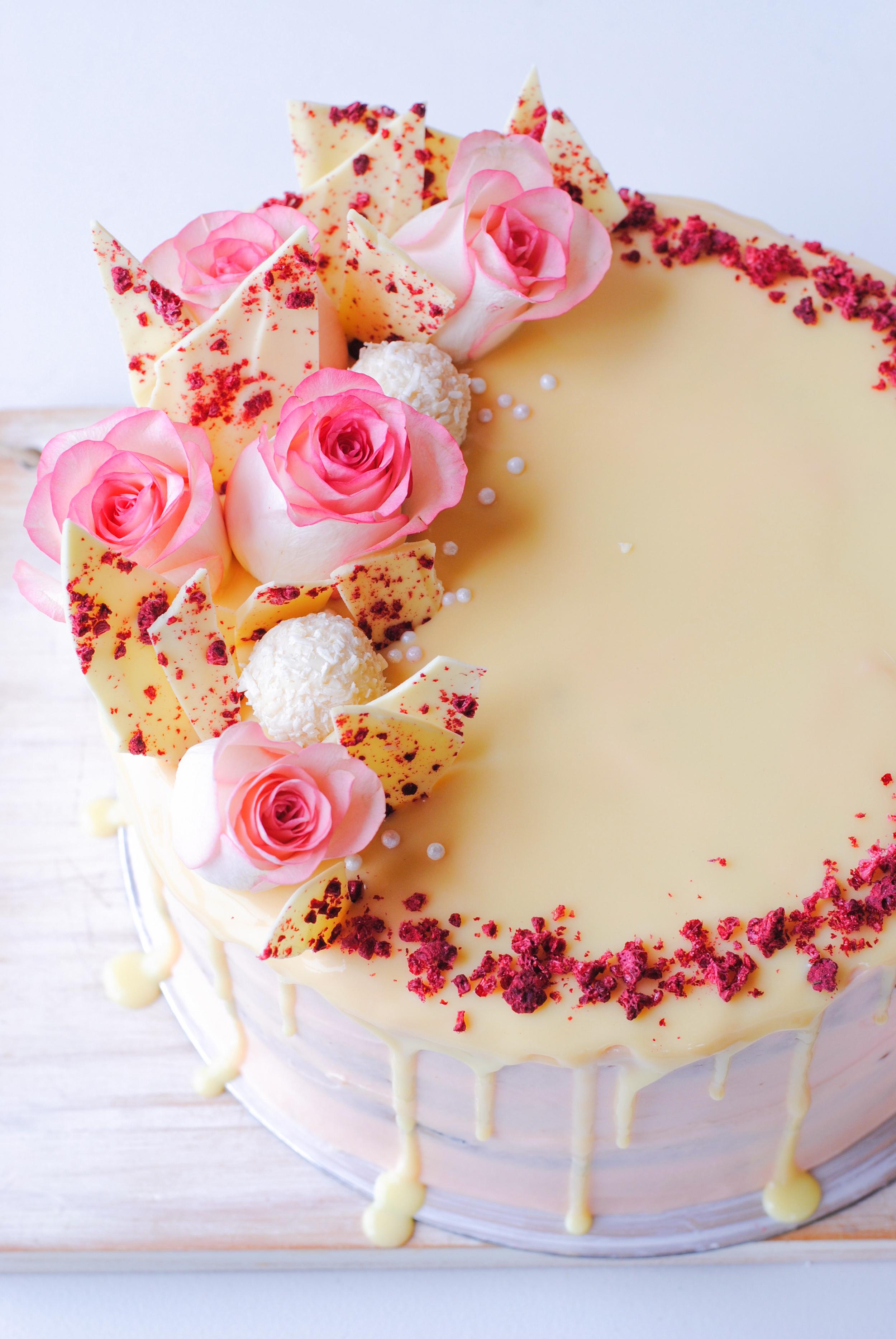 Raspberry White Chocolate Rhubarb Layer Cake The Hungry Cook