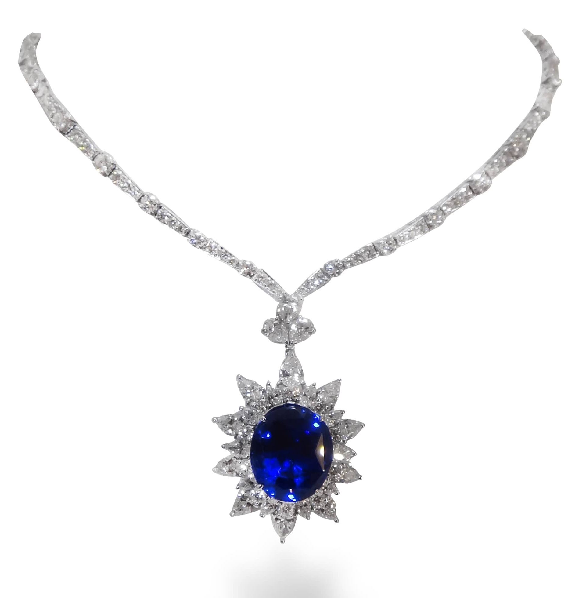 BURMA SAPPHIRE & DIAMOND NECKLACE WITH REMOVABLE PENDANT BESPOKE FINE JEWELLERY BY SHAHINA HATTA
