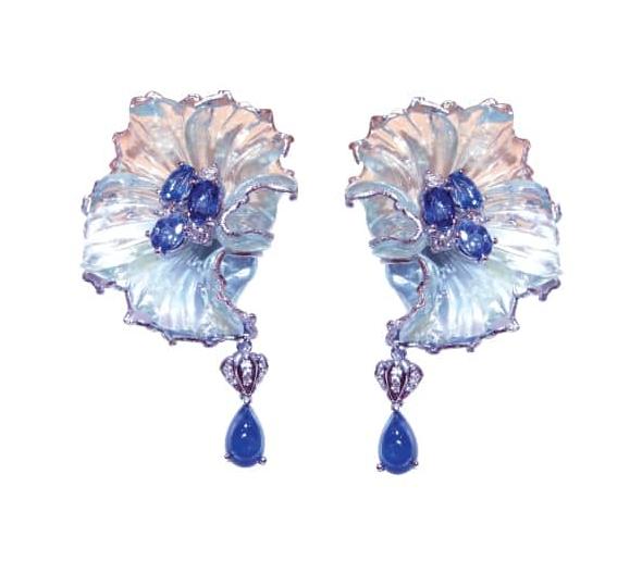 BLUE SAPPHIRE & AQUAMARINE EARRINGS BESPOKE FINE JEWELLERY BY SHAHINA HATTA