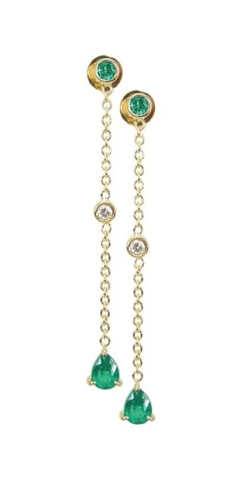 EMERALD & DIAMOND CHAIN DROP EARRINGS CLUSTER DIAMOND PENDANT BESPOKE FINE JEWELLERY BY SHAHINA HATTA