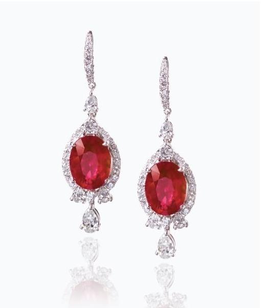 RUBY & DIAMOND EARRINGS CLUSTER DIAMOND PENDANT BESPOKE FINE JEWELLERY BY SHAHINA HATTA