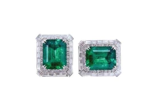 EMERALD & DIAMOND STUD EARRINGS CLUSTER DIAMOND PENDANT BESPOKE FINE JEWELLERY BY SHAHINA HATTA