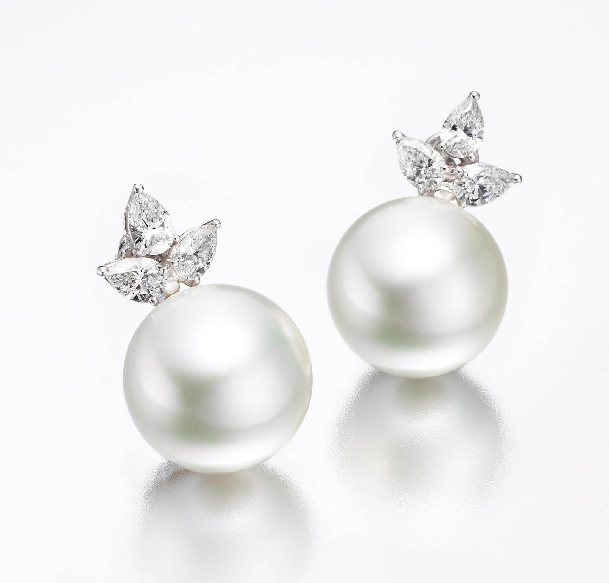 SOUTH SEA PEARL AND DIAMOND EARRINGS CLUSTER DIAMOND PENDANT BESPOKE FINE JEWELLERY BY SHAHINA HATTA