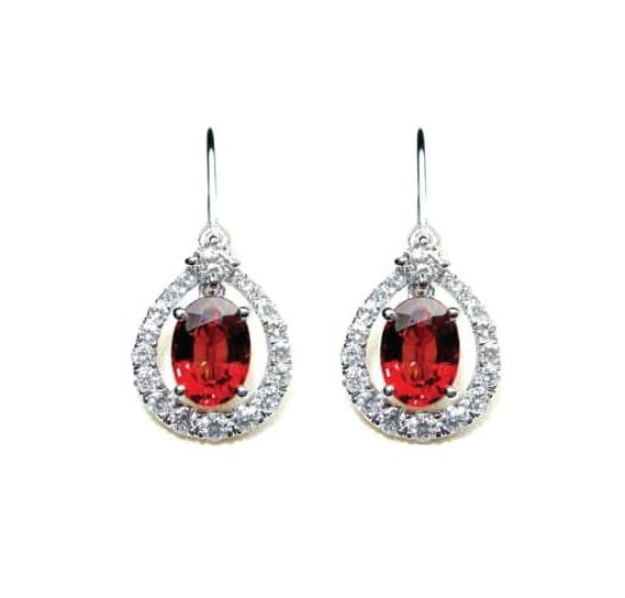 RUBY & DIAMOND DROP EARRINGS BESPOKE FINE JEWELLERY BY SHAHINA HATTA