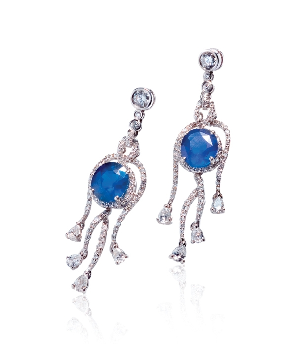 SAPPHIRE & DIAMOND EARRINGS BESPOKE FINE JEWELLERY BY SHAHINA HATTA
