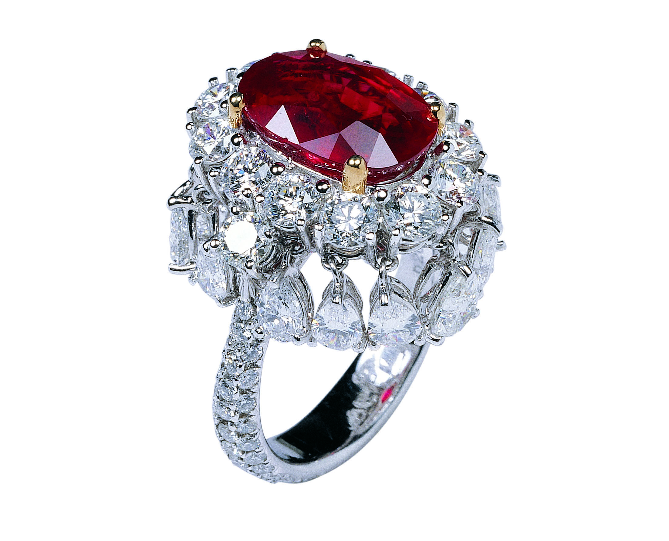 RUBY & DIAMOND DANCING RING BESPOKE FINE JEWELLERY BY SHAHINA HATTA
