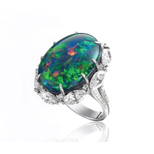 BLACK OPAL & DIAMOND RING BESPOKE FINE JEWELLERY BY SHAHINA HATTA