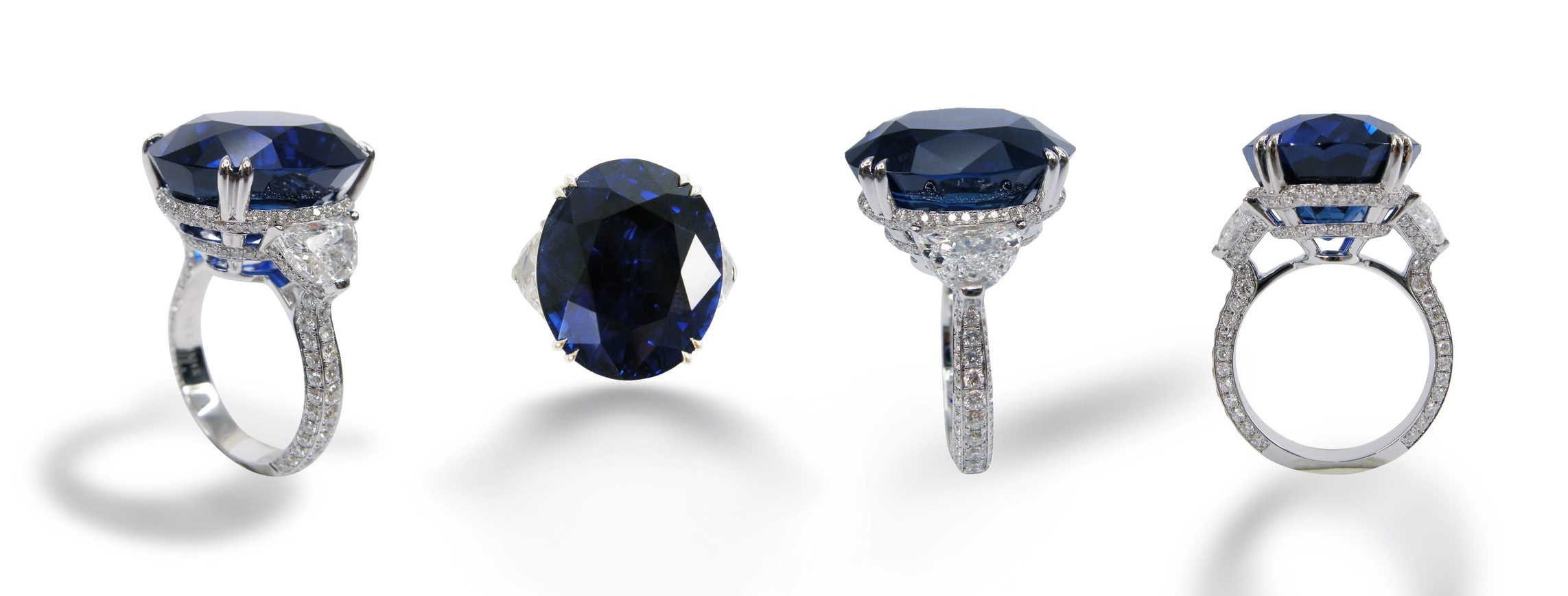 BLUE SAPPHIRE & DIAMOND THREE STONE RING