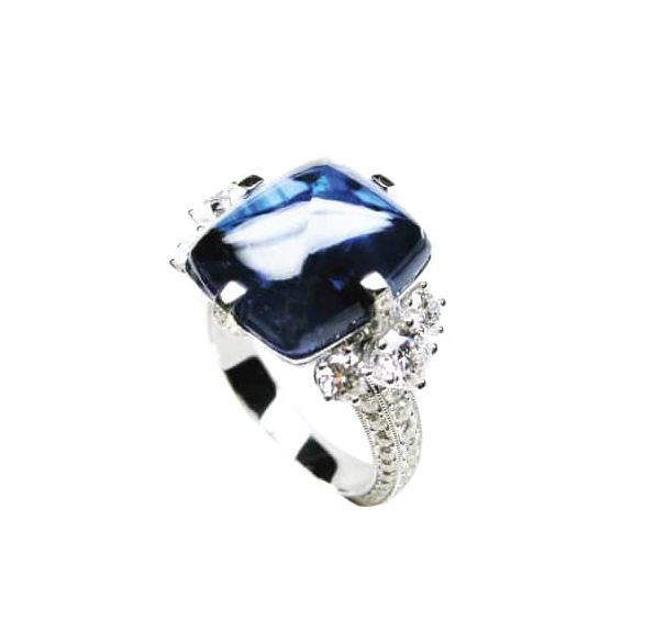 BLUE SAPPHIRE SUGARLOAF AND DIAMOND RING BESPOKE FINE JEWELLERY BY SHAHINA HATTA