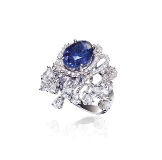 BLUE SAPPHIRE & DIAMOND RING BESPOKE FINE JEWELLERY BY SHAHINA HATTA