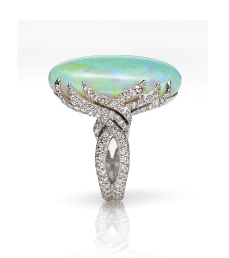 WHITE OPAL & DIAMOND RING BESPOKE FINE JEWELLERY BY SHAHINA HATTA