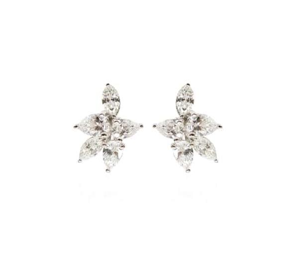 MARQUISE FLORAL CLUSTER DIAMOND STUD EARRINGS BESPOKE FINE JEWELLERY BY SHAHINA HATTA
