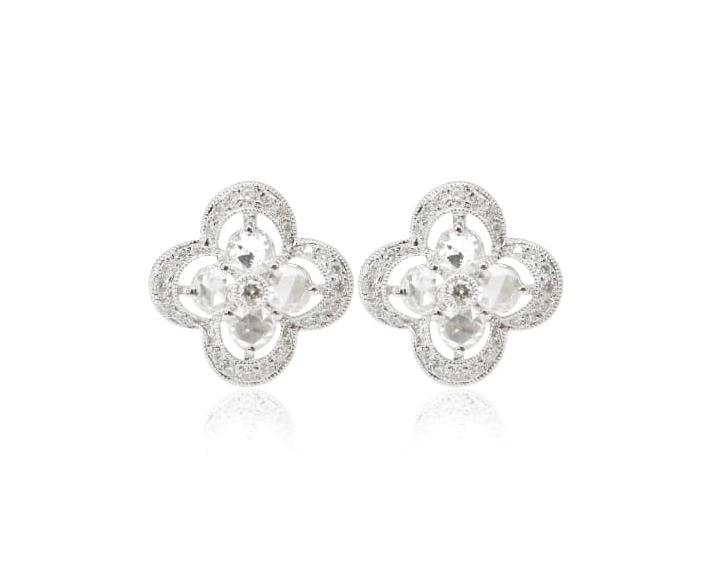 ROSE CUT DIAMOND STUD EARRINGS BESPOKE FINE JEWELLERY BY SHAHINA HATTA