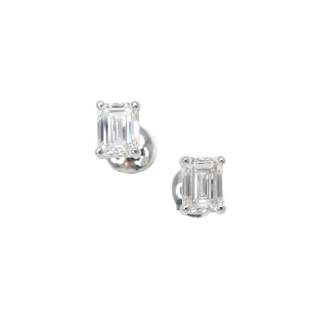EMERALD CUT SOLITAIRE DIAMOND STUD EARRINGS BESPOKE FINE JEWELLERY BY SHAHINA HATTA