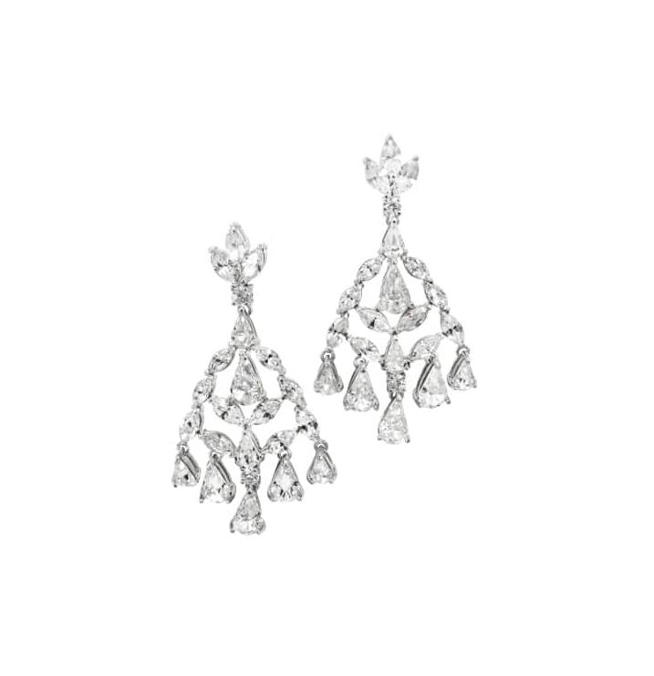 DIAMOND CHANDELIER DROP EARRINGS BESPOKE FINE JEWELLERY BY SHAHINA HATTA