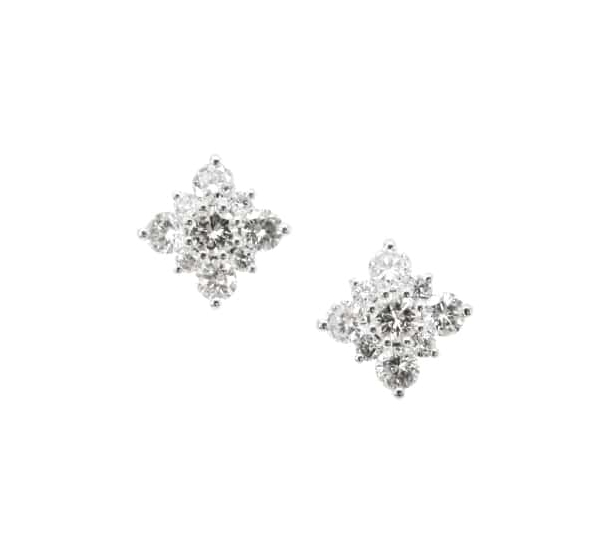 SIGNATURE DIAMOND SNOWFLAKE STUD EARRINGS BESPOKE FINE JEWELLERY BY SHAHINA HATTA