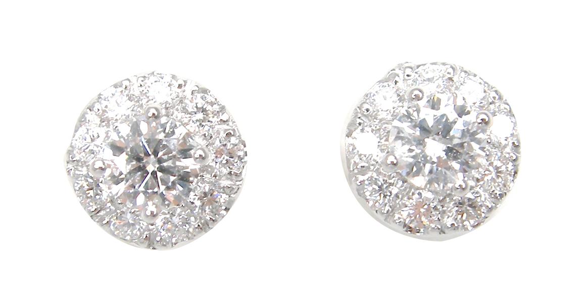 SIGNATURE DIAMOND STUD EARRINGS WITH HALO BESPOKE FINE JEWELLERY BY SHAHINA HATTA