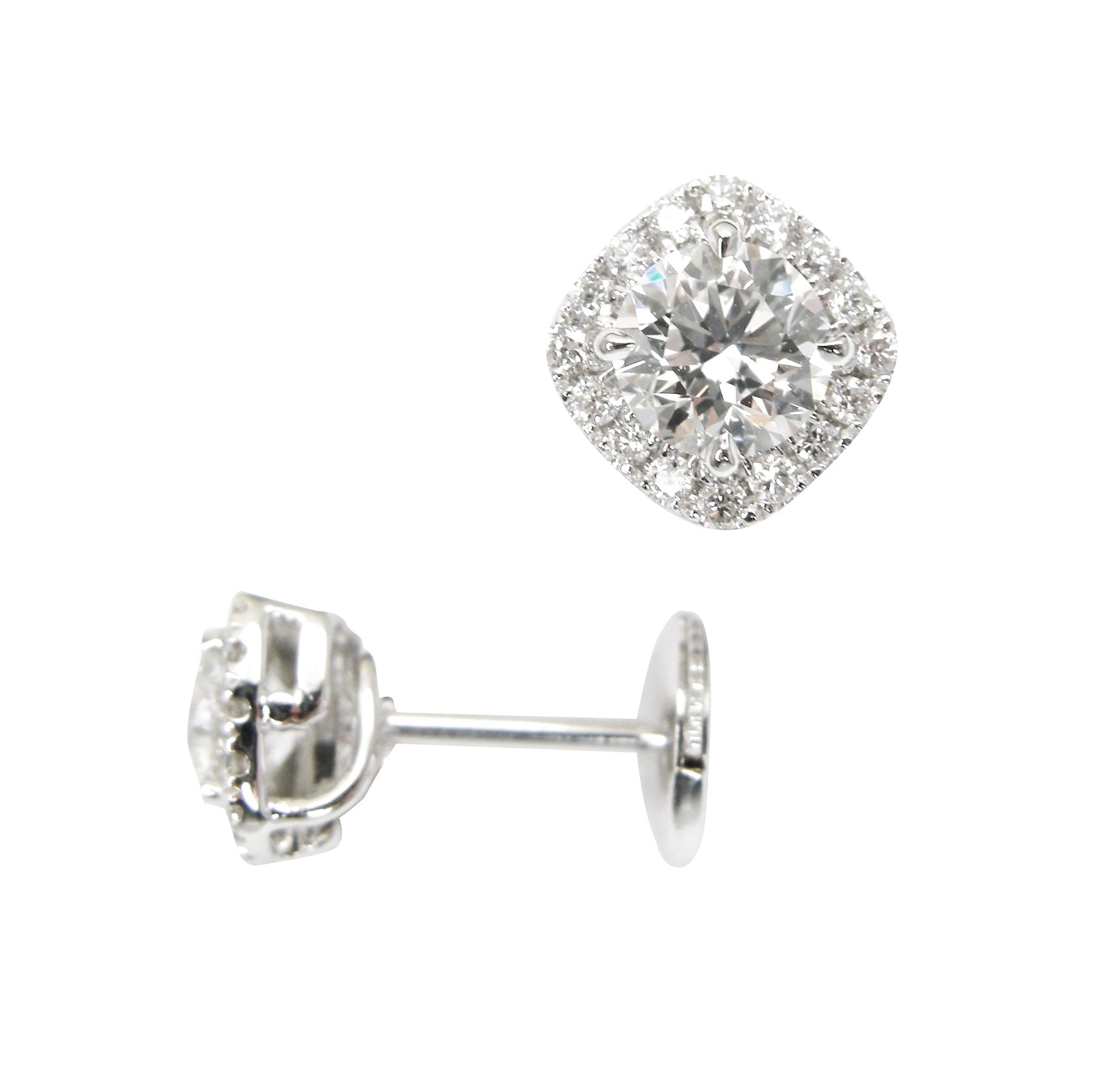 ROUND DIAMOND CUSHION HALO STUD EARRINGS BESPOKE FINE JEWELLERY BY SHAHINA HATTA