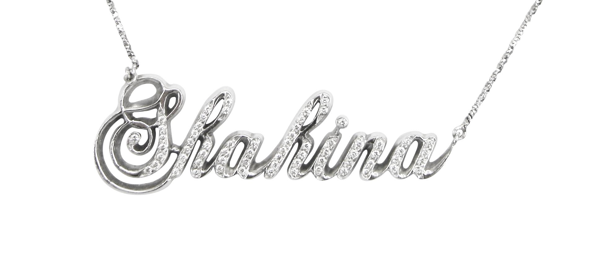 DIAMOND NAMEPLATE NECKLACE CLUSTER DIAMOND PENDANT BESPOKE FINE JEWELLERY BY SHAHINA HATTA