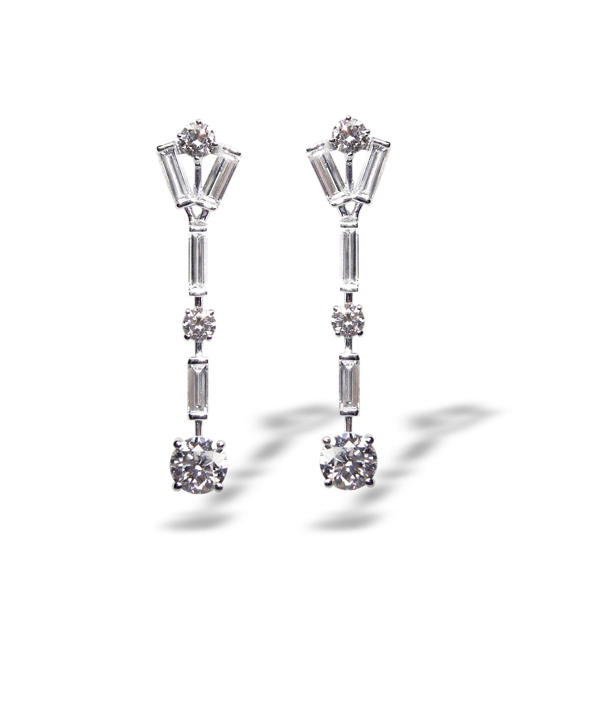 BAGUETTE & ROUND DIAMOND DROP EARRINGS BESPOKE FINE JEWELLERY BY SHAHINA HATTA