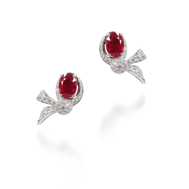 RUBY & DIAMOND BOW EARRINGS BESPOKE FINE JEWELLERY BY SHAHINA HATTA