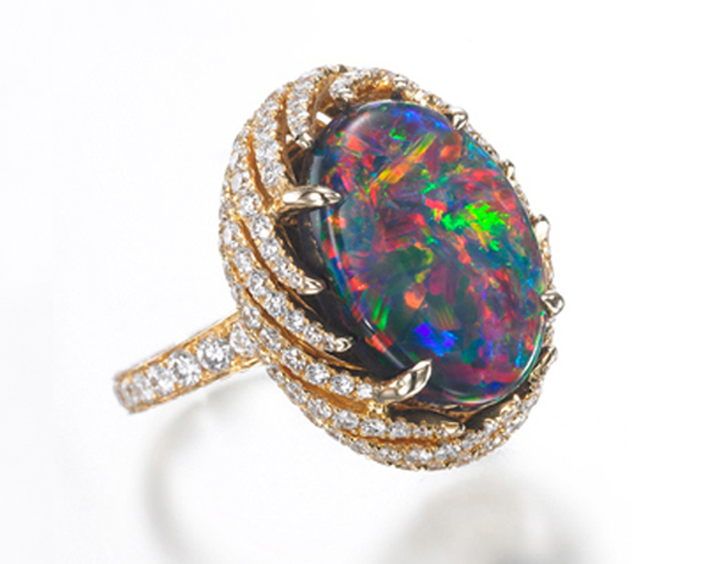 BLACK OPAL AND DIAMOND RING BESPOKE FINE JEWELLERY BY SHAHINA HATTA