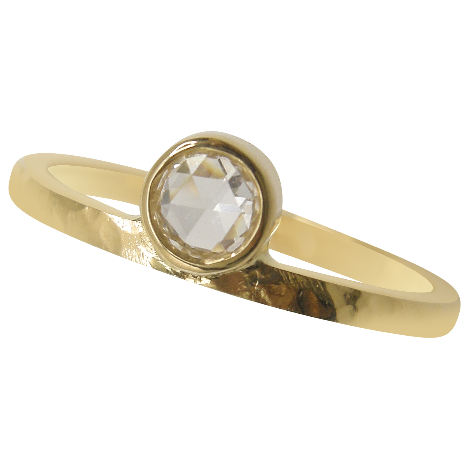 ROSE CUT SOLITAIRE HAMMERED FINISH RING BESPOKE FINE JEWELLERY BY SHAHINA HATTA