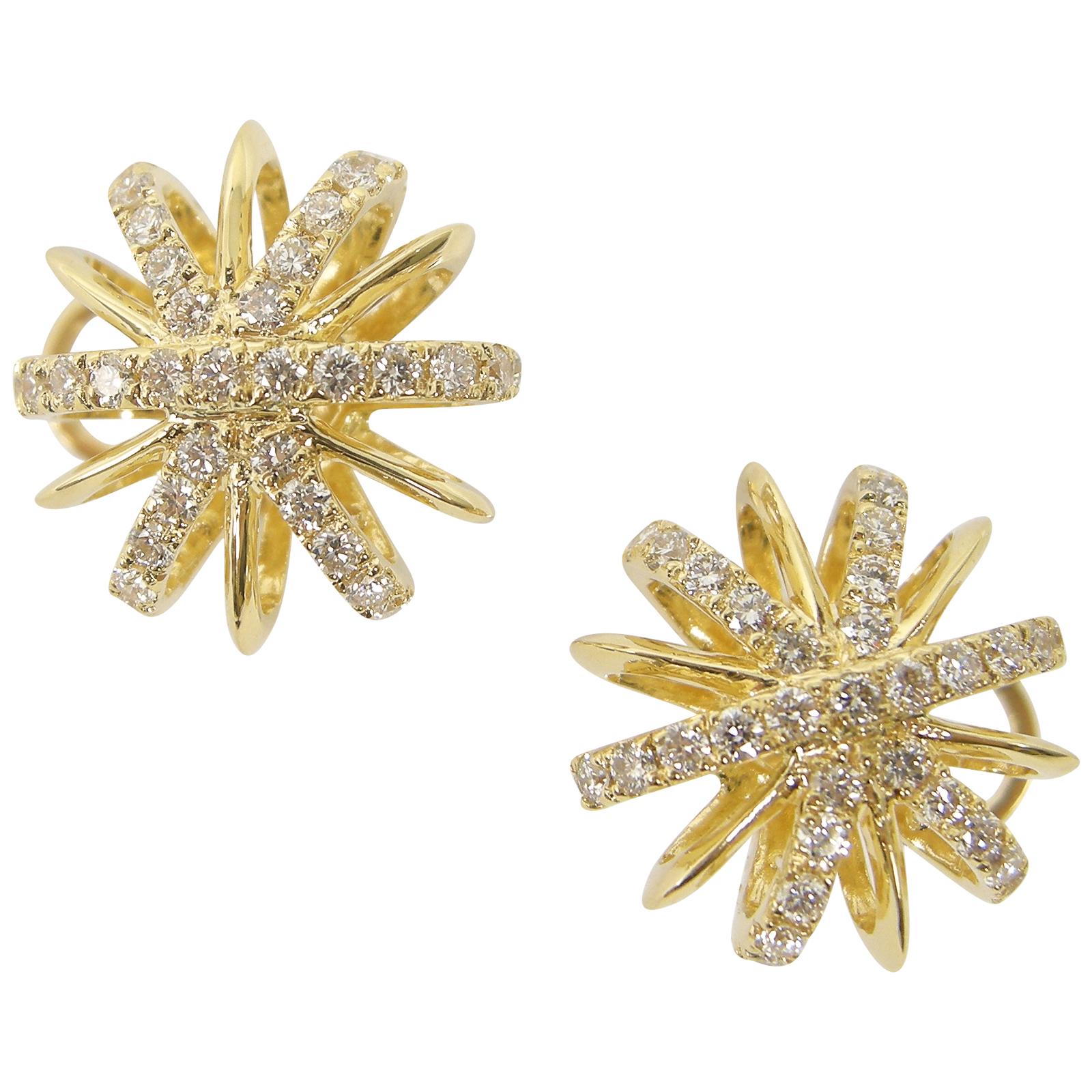 DIAMOND SNOWFLAKE STUD EARRINGS CLUSTER DIAMOND PENDANT BESPOKE FINE JEWELLERY BY SHAHINA HATTA