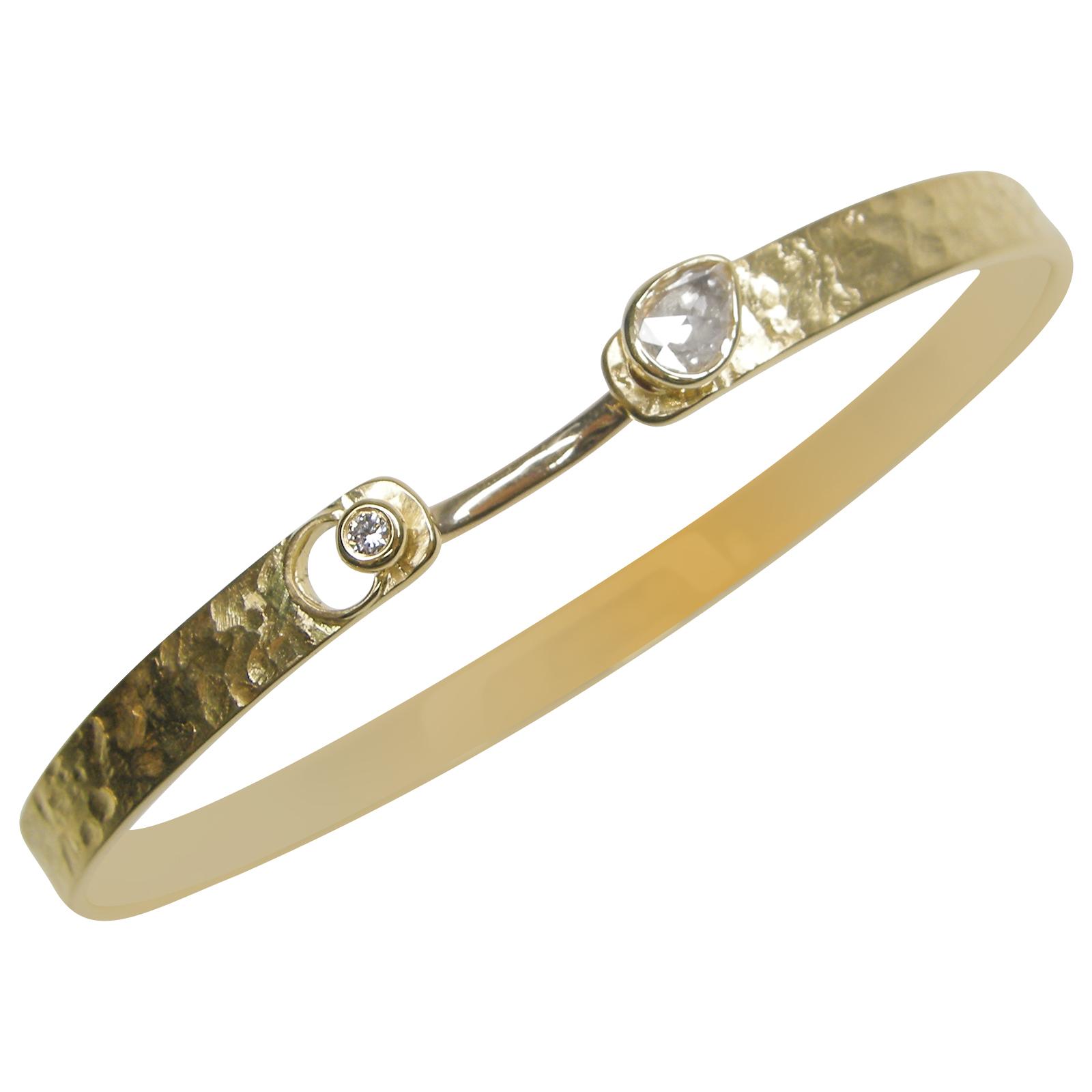YELLOW GOLD DIAMOND BRACELET CUFF