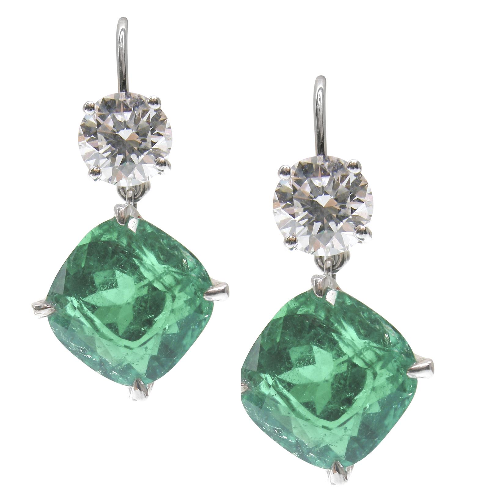 EMERALD & DIAMOND DROP EARRINGS CLUSTER DIAMOND PENDANT BESPOKE FINE JEWELLERY BY SHAHINA HATTA