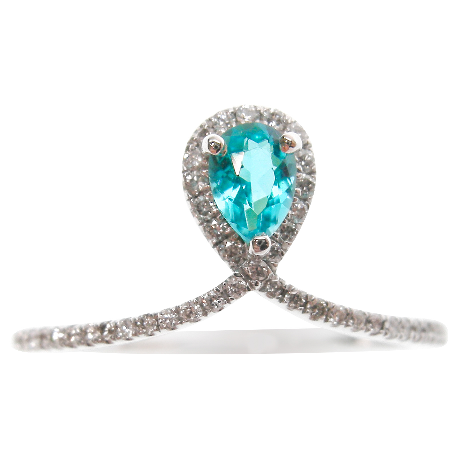 PARAIBA & DIAMOND TIARA RING BESPOKE FINE JEWELLERY BY SHAHINA HATTA