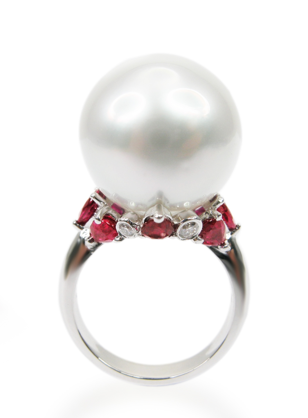 SOUTH SEA PEARL DIAMOND & RUBY RING BESPOKE FINE JEWELLERY BY SHAHINA HATTA